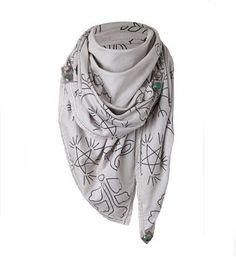 Noosa Amsterdam smal allover doodle scarf. Een vierkante sjaal met patroon geinspireerd op chunks uit de Noosa collectie - Zand dessin - NummerZestien.eu