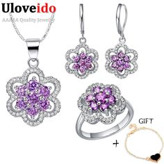 Find More Jewelry Sets Information about White Wedding Jewelry Women Purple Earrings Sets 925 Sterling Silver Bridal Necklace Set Flower Colar Feminino Ring Ulove T489,High Quality jewelry cord,China jewelry exclusive Suppliers, Cheap jewelry display stand stores from Almei Jewelry Store on Aliexpress.com