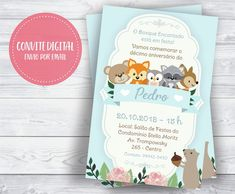 Convite bosque encantado menino digital. #convitebosqueencantado #convitebosqueencantadomenino #convitefloresta Julia, Woodland, Books, Design, Forest Friends, Forest Party, 1st Birthday Parties, Baby Birthday, Baby Party