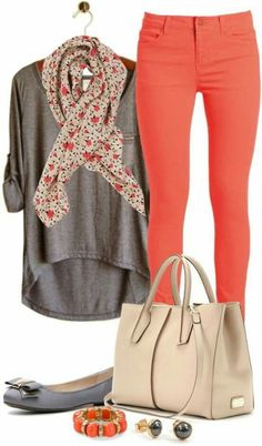 Love this color combo : Gray T-Shirts - Floral Scarf - Coral Pants - Nude Bag - Gray Flats - Coral Bracelet - Gray Earrings Consider colored jeans but not so skinny. Need to step up my style with accessories like scarf and bangle Spring Work Outfits, Fall Outfits, Casual Outfits, Spring Clothes, Spring Wear, Dress Outfits, Spring Dresses, Spring Summer, Dress Summer