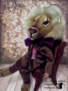 Купить Интерьерная игрушка Левушка. - бежевый, коричневый, лев, левушка, царь зверей, игрушка в подарок