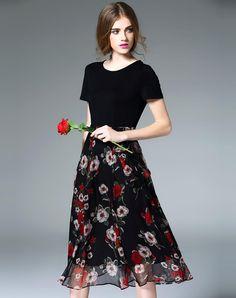 #AdoreWe VIPme (VIPSHOP Global) Womens - ES·DANNUO - Black Silk Paneled Floral Belted Midi Dress - AdoreWe.com