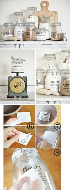 Great idea for organizing baking supplies... or perhaps put a recipe on jar with dry ingredients as gifts