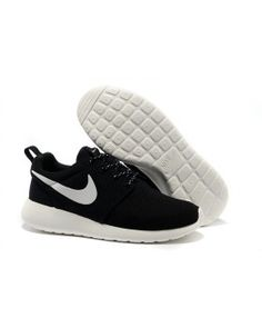 Nike Roshe Run Mesh Black White Logo Shoes Womens Mens