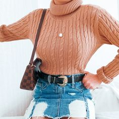 Denim skirt and turtleneck sweater are always a good choice Sweater Outfits, Fall Outfits, Ootd Fashion, Turtleneck, Denim Skirt, Cozy, Skirts, Sweaters, Skirt