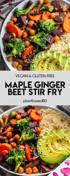 Vegan Beet Recipes, Easy Beet Recipe, Vegetarian Recipes, Healthy Recipes, Chickpea Recipes, Bean Recipes, Vegan Food, Vegetarian Stir Fry, Vegan Stir Fry