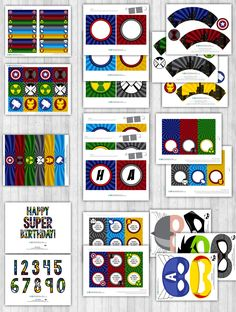 avengers party decor pack printable toppers banner thank you tags