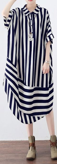 women black striped chiffon blended maxi dress trendy plus size shirt collar dresses Elegant patchwork caftans – Plus Size Women's Clothing