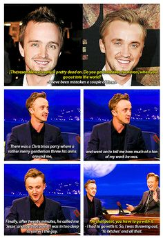 Aaron Paul and Tom Felton. Both play redeemed bad guys. I could see the mix-up :)