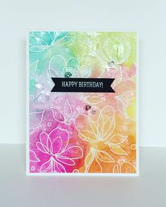SSS Spring Flowrs; ink smooshing; emboss resist; shimmer; Distress ink; any occasion; bright; rainbow; gorgeous