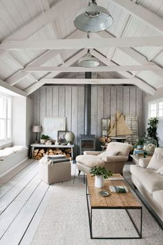 Scandinavian Cottage Living Room - artist, author of more than 20 books and understated upcycler, Annie Sloan . Style Cottage, Cozy Cottage, Cozy Cabin, Garden Cottage, Cottage House, Modern Cabin Decor, Modern Cabins, Modern Cabin Interior, Cabin Interior Design