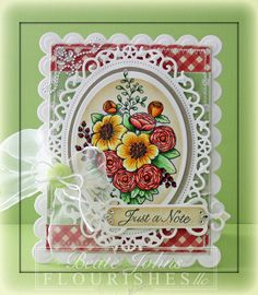 Flourishes Sneak Peek – Summer Blossoms » fresh & fun? Love the way Beate matted the classic oval with a hand cut oval mat (trace outside of die) which makes it fit the floral oval with a nicer margin, very pleasing. Plus it is a wonderful card beautifully colored!