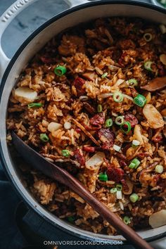 This rich, savory, and buttery sticky rice stuffing is made with sweet Chinese sausage, smoky mushrooms, and crunchy water chestnuts. Cooked with butter, fresh aromatics, and finished up with a drizzle of soy sauce, this hearty stuffing will go well with your regular Thanksgiving dishes while spicing up your dinner party with an exotic touch.