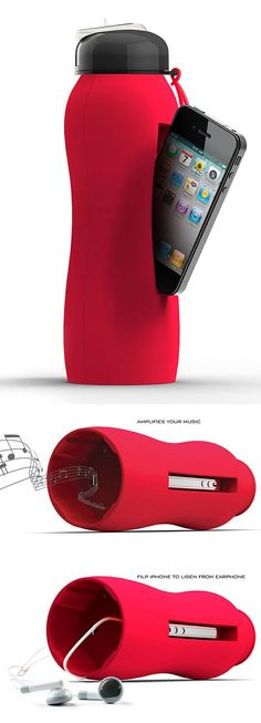 Beat Drink Bottle // cleverly holds your iPhone, a drink, and amplifies your tunes all in one! Perfect for working out. #product_design (Cool Gadgets For Iphone)