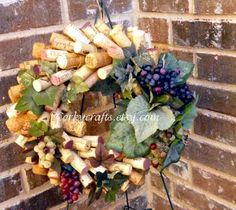 Wine cork wreath/table centerpiece floral by Corkycrafts on Etsy