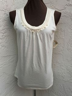 Coldwater Creek size M solid casual  ivory beaded detail sleeveless tank NEW #ColdwaterCreek #Tank #Casual