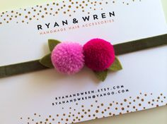 Berry pom headband - fall by ryanandwren on Etsy