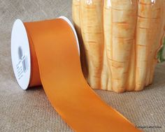 "Orange Wired Edged Satin Ribbon 2 1/2"" wide from Cottage Crafts Online"