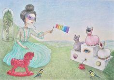 Ulyana Sergeenko  #shelestart #drawing #popsurrealism #contemporaryart #lowbrow #lowbrowart #ulyanasergeenkocouture #ulyanasergeenko