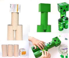 Photo: CRAFT: Use Toilet Paper Rolls, Paint/Markers, Glue and Scrap Pieces of Paper to Make A Minecraft Creeper(Got this idea from Quirkymomma) :)----source link below----http://kidsactivitiesblog.com/59931/toilet-roll-minecraft-creeper