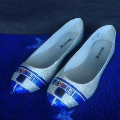 Hand-painted R2-D2 Glitter Flats Women's Shoes by NerdlyGoodness on Etsy
