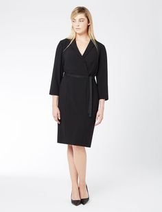 Marina Rinaldi DIVA black: Triacetate dress with belt.
