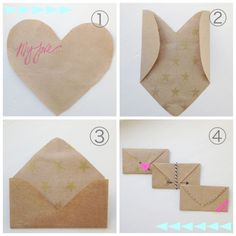 How to fold a heart shaped paper into an envelope! So fun to write little love letters on!