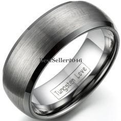 Herren Gebürstet Dome Wolframcarbid Ring Ehering Partnerring Liebe Freundschaft