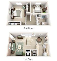 2br Townhome 3D floor plan