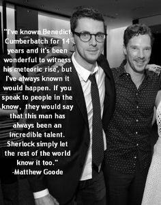 Benedict Cumberbatch's fellow peers and co-stars see what we, his fans, have seen since the day we first came upon him, a man bursting with an immense amount of talent! :) How can you NOT adore this. Matthew William Goode, Mathew Goode, Sherlock Holmes John Watson, Sherlock Bbc, Star Trek Into Darkness, A Discovery Of Witches, Benedict Cumberbatch Sherlock, British Actors, British Boys