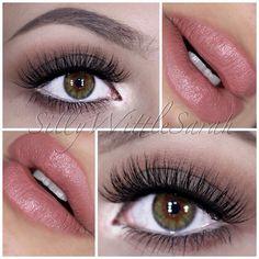 Pinky nude lip with matte smokey browns and beautiful hazel eyes