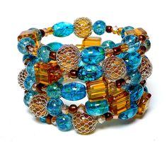 Coil Beaded Bracelet COPPER QUEEN Beading Divas by Lizziestardust