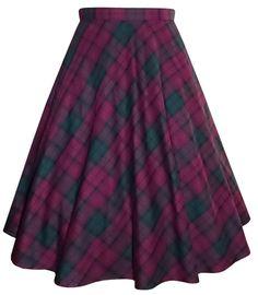 Purple/green poly-viscose tartan half circle skirt