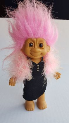 "7"" Treasure Troll Doll by Russ Tracey Pink Hair Pink boa Black Dress #Russ #TreasureTrolls"