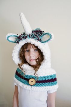 Unicorn Hat - Unicorn Hoodie - Unicorn Cowl - Animal Hat - Hooded Scarf - Crochet Hoodie - Chunky Crochet Hat - Christmas Gift for Kids - Chunky Crochet Hat, Crochet Hooded Scarf, Crochet Hoodie, Crochet Beanie, Crochet Scarves, Crochet Clothes, Unicorn Hat, Unicorn Hoodie, Crochet Unicorn
