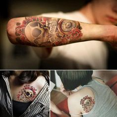 Waterproof Temporary Tattoos for Men Arm Tattoo Sticker for Body Art Punk Skull Pattern Transferable Tattoo Sleeve