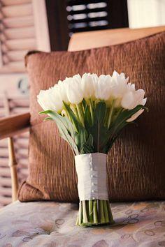 pretty white tulip bouquet.