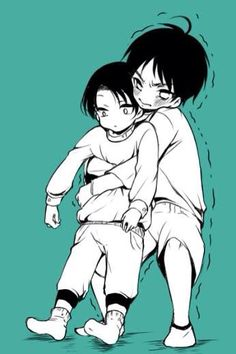 So adorable tinny Levi and Eren (≧∇≦)