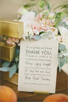 thank you note on the escort card table #thankyounote #weddingideas #weddingchicks http://www.weddingchicks.com/2014/03/21/pretty-peach-wedding/