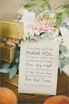 thank you note on the escort card table #thankyounote #weddingideas #weddingchicks http://www.weddingchicks.com/2014/03/21/pretty-peach-wedding/