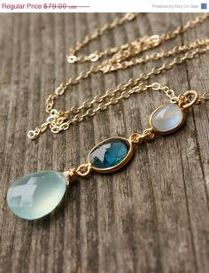 Valentines Day Sale Rainbow Moonstone Blue Topaz and by OhKuol, $67.15