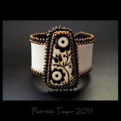 Black & Bronze Flowers  Ivory Bead Embroidered Leather by Triz Designs