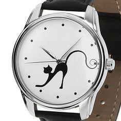 Black Cat Ladies, ZIZ Wrist Watch, Leather Watch, Gift Idea, Women Wristwatch #ZIZ #Fashion