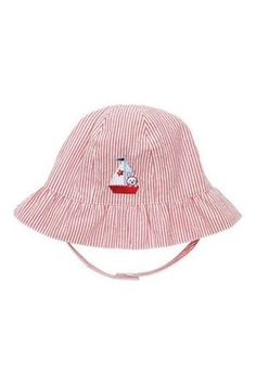 Elegant Baby Sun Hat Nautical Girl Seersucker sun hat with ruffled brim Fits 6 to 12 months Please Click the image for more information.