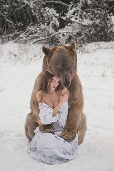 A brown bear hugging she- bear woman by Olga Barantseva - Photo 131754483 - 500px Clothing, Shoes & Jewelry - Women - women's jeans - http://amzn.to/2jzIjoE
