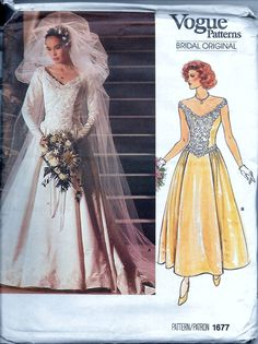 Wedding Dress Bridal Gown Vogue 1677 Vintage 80s Sewing Pattern Gathered Flare Skirt Shaped Bodice Size 8