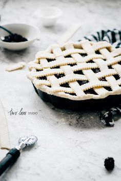 Two Loves Studio Black and White Food Photography Blackberry Pie