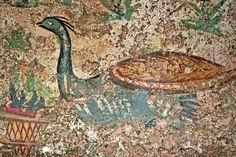 Peacock fresco from Roman grave