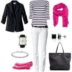 White Jeans, Black & White Stripe Top, Black Jacket, Hot Pink Scarf & Shoes