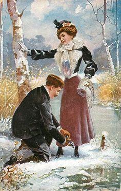 man kneeling in snow, adjusts skate of standing lady Vintage Postcards, Vintage Images, Man Kneeling, Male Pinup, Vintage Couples, Winter Images, Art Deco Posters, Romance, Artist Trading Cards